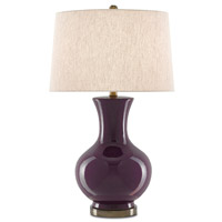 Aubergene 28 inch 150 watt Plum/Bronze Table Lamp Portable Light