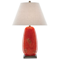 Currey & Company 6000-0097 Carnelia 32 inch 150 watt Rustic Red/Antique Brass Table Lamp Portable Light