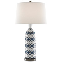 Morning 32 inch 150 watt White/Blue/Bronze Table Lamp Portable Light
