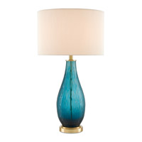 Currey & Company 6000-0141 Sangoma 32 inch 150 watt Marine Blue and Satin Brass Table Lamp Portable Light