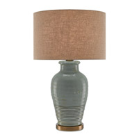 Currey & Company 6000-0152 Guinevere 30 inch 150 watt Blue Gray and Antique Brass Table Lamp Portable Light