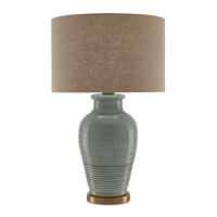Guinevere 30 inch 150 watt Blue Gray and Antique Brass Table Lamp Portable Light