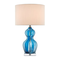 Currey & Company 6000-0154 Cecily 29 inch 150 watt Cerulean Blue and Clear Table Lamp Portable Light