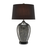 Komi 30 inch 150 watt Metallic Mercury Silver and Black Table Lamp Portable Light