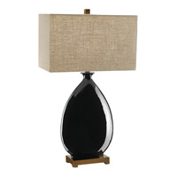 Cadot 32 inch 150 watt Black and Antique Brass Table Lamp Portable Light