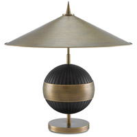 Chatta 24 inch 25 watt Antique Brass and Black Table Lamp Portable Light