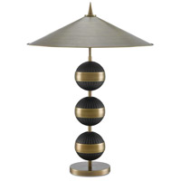 Tamboo 33 inch 25 watt Antique Brass and Black Table Lamp Portable Light