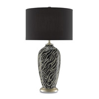 Guise 31 inch 150 watt Black and Gray and Silver Leaf Table Lamp Portable Light