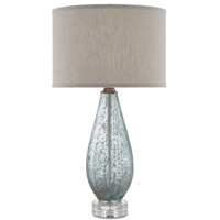 Optimist 30 inch 150 watt Pale Blue Glass and Clear Table Lamp Portable Light