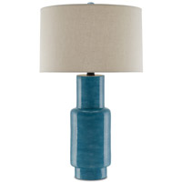 Janeen 31 inch 150 watt Blue and Satin Black Table Lamp Portable Light