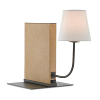 Currey & Company 6000-0194 Cloven 15 inch 60 watt Parchment Paper and Bronze Verdigris Bookcase Lamp Portable Light