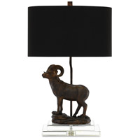 Cabra 25 inch 150 watt Bronze Gold and Clear Table Lamp Portable Light