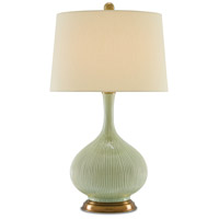 Cait 30 inch 150 watt Grass Green and Antique Brass Table Lamp Portable Light