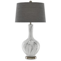 Swan 33 inch 150 watt White and Gray and Antique Nickel Table Lamp Portable Light