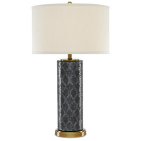 Currey & Company 6000-0221 Pavo 32 inch 150 watt Black and Gold and Antique Brass Table Lamp Portable Light