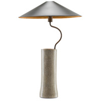 Klay 35 inch 75 watt Polished Concrete with Abalone Shells Table Lamp Portable Light