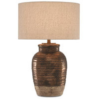 Kaja 27 inch 150 watt Metallic Brown and Cream with Antique Brass Table Lamp Portable Light