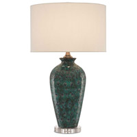 Pavao 31 inch 150 watt Peacock Green and Antique Nickel Table Lamp Portable Light