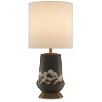 Kumo 30 inch 150 watt Black and Light Beige with Brass Table Lamp Portable Light