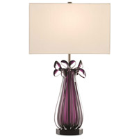 Chimay 27 inch 150 watt Purple and Antique Nickel Table Lamp Portable Light