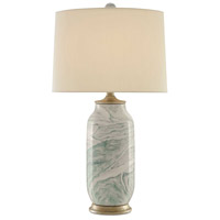 Currey & Company 6000-0339 Sarcelle 29 inch 150 watt Sea Foam and Harlow Silver Leaf Table Lamp Portable Light