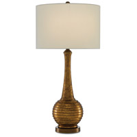 Currey & Company 6000-0345 Madailn 33 inch 150 watt Aged Gold Leaf/Antique Brass Table Lamp Portable Light