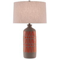 Currey & Company 6000-0346 Cueva 31 inch 150 watt Natural and Orange with Gray Table Lamp Portable Light