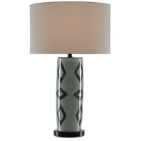 Currey & Company 6000-0347 Greer 30 inch 150 watt Light Gray Crackle and Blue with Satin Black Table Lamp Portable Light