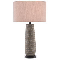 Currey & Company 6000-0349 Deirks 30 inch 150 watt Light Gray and Light Brown with Satin Black Table Lamp Portable Light