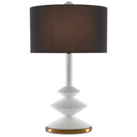 Currey & Company 6000-0352 Sabella 32 inch 150 watt White Gesso and Antique Brass Table Lamp Portable Light, The Denise McGaha Collection