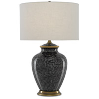 Currey & Company 6000-0364 Cutler 29 inch 150 watt Black and Light Gray and Gold with Antique Brass Table Lamp Portable Light