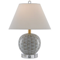 Currey & Company 6000-0367 Fisch 19 inch 100 watt Gray and White and Clear with Antique Nickel Table Lamp Portable Light Small