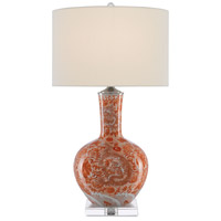 Currey & Company 6000-0368 Sheng 31 inch 150 watt Mandarin Red & White & Clear with Polished Nickel Table Lamp Portable Light
