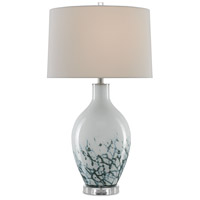 Currey & Company 6000-0371 Elysian 31 inch 150 watt Cloud/Aqua/Polished Nickel Table Lamp Portable Light