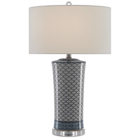 Currey & Company 6000-0375 Delft 26 inch 150 watt Beige Crackle & Blue & Clear with Polished Nickel Table Lamp Portable Light