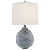 Currey & Company 6000-0380 Hadi 27 inch 150 watt Gray Stone Wash Table Lamp Portable Light