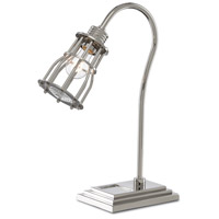 Currey & Company 6000-0384 Davy 21 inch 60 watt Polished Nickel and Clear Desk Lamp Portable Light The Barry Goralnick Collection