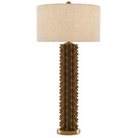 Currey & Company 6000-0386 Mariazina 40 inch 150 watt Natural Wood and Satin Brass Table Lamp Portable Light