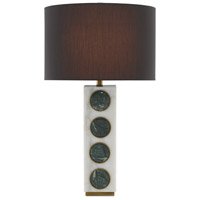 Currey & Company 6000-0387 Petia 30 inch 150 watt White and Green with Antique Brass Table Lamp Portable Light