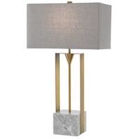 Currey & Company 6000-0392 Imperium 32 inch 150 watt Light Antique Brass and White Table Lamp Portable Light