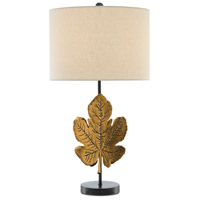 Currey & Company 6000-0393 Figuier 29 inch 150 watt Brass Patina/Satin Black Table Lamp Portable Light Marjorie Skouras Collection