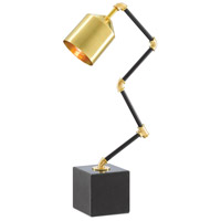 Currey & Company 6000-0396 Mikhael 23 inch 25 watt Polished Brass and Black Granite Table Lamp Portable Light