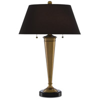 Currey & Company 6000-0397 Renegade 27 inch 75 watt Vintage Brass and Black Granite Table Lamp Portable Light