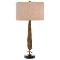 Currey & Company 6000-0398 Fyllo 33 inch 75 watt Vintage Brass and Black Granite Table Lamp Portable Light