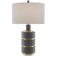Currey & Company 6000-0407 Georgine 29 inch 150 watt Pebble Gray and Brushed Brass Table Lamp Portable Light