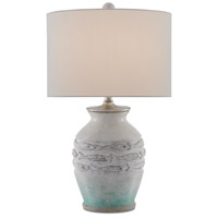 Currey & Company 6000-0424 Pois 25 inch 150 watt White and Aqua and Gray with Silver Granello Table Lamp Portable Light