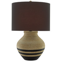 Currey & Company 6000-0426 Higel 31 inch 150 watt Natural and Black with Satin Black Table Lamp Portable Light