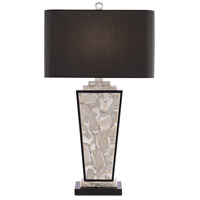 Currey & Company 6000-0430 Patrova 33 inch 150 watt Pearlized Oyster/Black Table Lamp Portable Light
