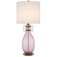 Currey & Company 6000-0450 Cavalli 33 inch 150 watt Smoke Rose/Antique Brass Table Lamp Portable Light