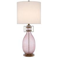 Currey & Company 6000-0450 Cavalli 33 inch 150 watt Smoke Rose/Antique Brass Table Lamp Portable Light